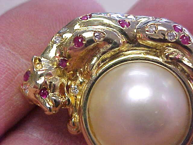 Panther Mabe Pearl Diamond & Ruby Scarf Pin or Enhancer 14k Gold