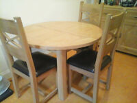 Solid wooden extendable table and 4 chairs
