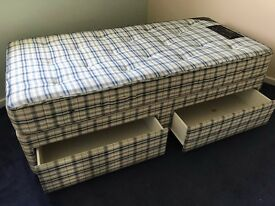 Single Divan Bed with Orthopaedic Mattress, Headboard and Two Storage Drawers Beneath