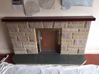 Fireplace stone and polished slate complete kit