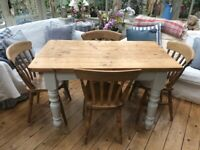 Lovely Pine Farmhouse Dining Table and 4 Chairs