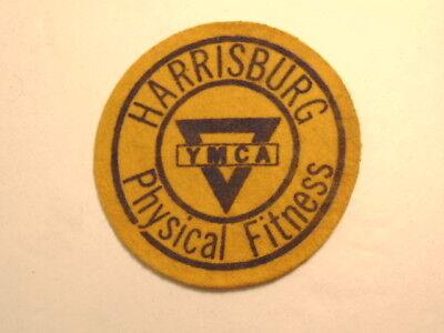 Older gold color felt or wool Harrisburg YMCA Physical Fitness jacket patch