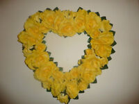 NEW! Large Heart Shaped Yellow Silk Roses Wreath