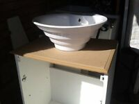 Complete beautiful white basin sink and white unit