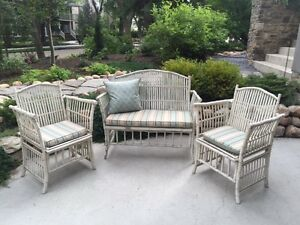 Wicker two seat sofa and chairs