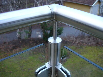 48MM CURVED GLASS CLAMPS / CLIPS FOR HANDRAILS + BALUSTRADES FOR 10mm GLAZING