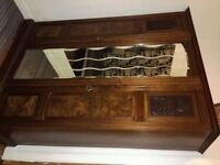 Antique Triple Wardrobe & Matching Chest of Drawers