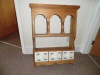 Wooden shelf with three china drawers