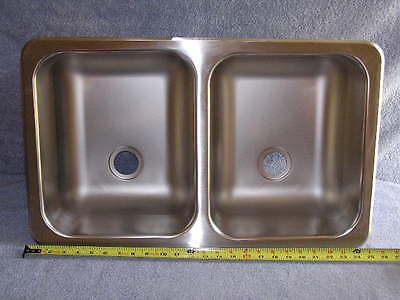 RV Marine 50/50 Stainless Double Bay Galley Kitchen Sink Wash Basin 25 x15.25 x6
