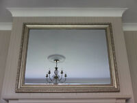 Large Decorative Antique Effect Mirror with Bevelled edges