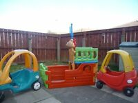 Two Little Tikes cars and a Feber pirate ship