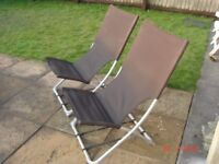 Set of 2 garden chairs - garden furniture - Recliner fabric deck chairs - £15 sorry no offers