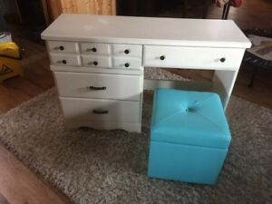 Child's size white desk and blue storage chair