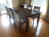 7 piece dining set from EQ3, solid hard wood,excellent condition