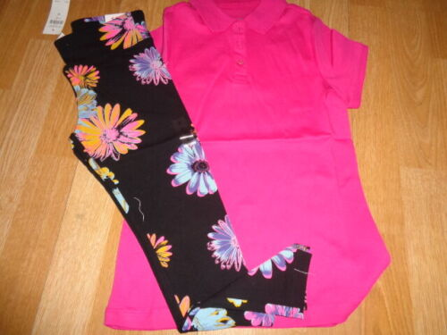NWT Justice outfit size 8 purple 3 button shirt top and black flower leggings