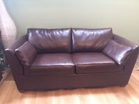 Brown leather sofa bed. (Double)