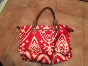 Red and White Stella and Dot Tote Bag