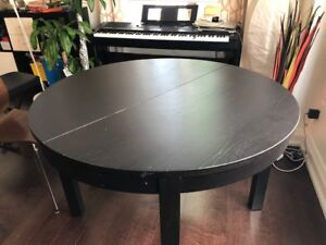Extendable Ikea dining table BJURSTA brown-black only $45
