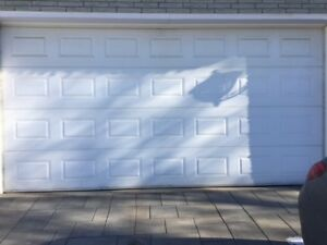 Double garage door 16 feet by 7 Feet white for sale with motor