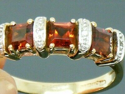 9ct Gold Garnet & Diamond Hallmarked Cluster Eternity  ring size R