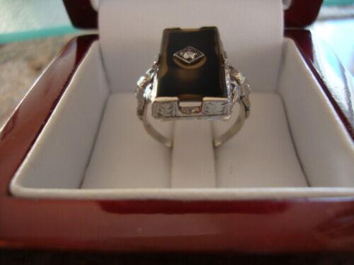 ANTIQUE 18K EGYPTIAN REVIVAL ENGRAVED SHANK RING DIAMOND 4.8 GRAMS SIZE 6.75