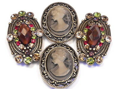 - 4 - 2 HOLE SLIDER BEADS MULTI COLOR AUSTRIAN CRYSTAL STUDDED VICTORIAN CAMEO