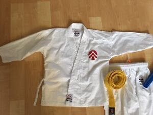 Martial Arts Suit, youth size 00, yellow belt and nunchaku - $40