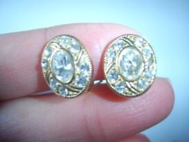Rodney Holman Vintage Gold Plated Crystal ? Diamante Oval 12mm CLIP ON Earrings