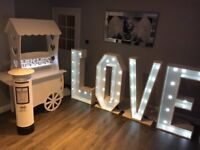 Wedding and Special Occasion giant 4 ft LED LOVE leters, Candy Carts, Glitter post box,6ft led trees
