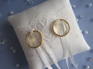 POCKET SIZE 9 x 9 cms PALE IVORY SATIN/LACE BRIDAL WEDDING RING CUSHION PILLOW