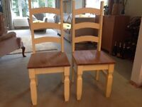 Two Solid Pine Corona Dining Chairs