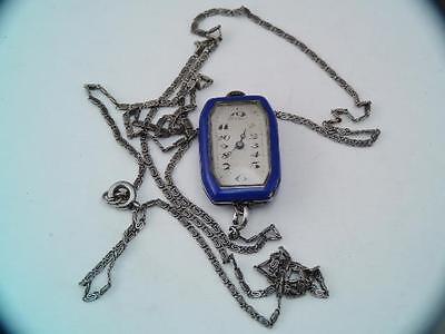 Antique Art Deco Ladies 935 Sterling Silver Enamel Swiss Pendant Watch w Chain