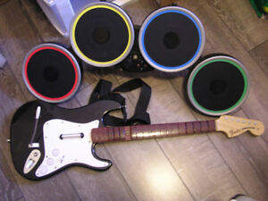 Rockband guitar with a Rockband Drum Set,