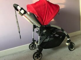 Bugaboo Bee Complete Pushchair with Canopy, rain cover, cacoon and Manaul/Bills. Red