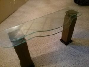 Glass Table top and Curvy Thick Glass Shelves