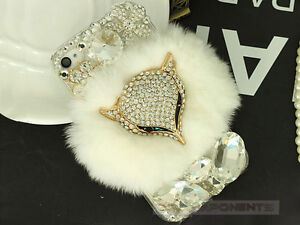 Luxury Bling Crystal Fox Rabbit Fur Diamond Rhinestone Case Cover For Cellphone
