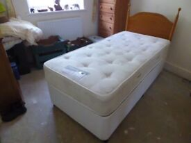 Single Divan Bed & 'Moonraker' Quality Sprung Mattress & wooden Headboard