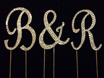 Monogram Wedding Cake Toppers (Small GOLD Rhinestone Covered Monogram Initial Letter Wedding Cake Topper)
