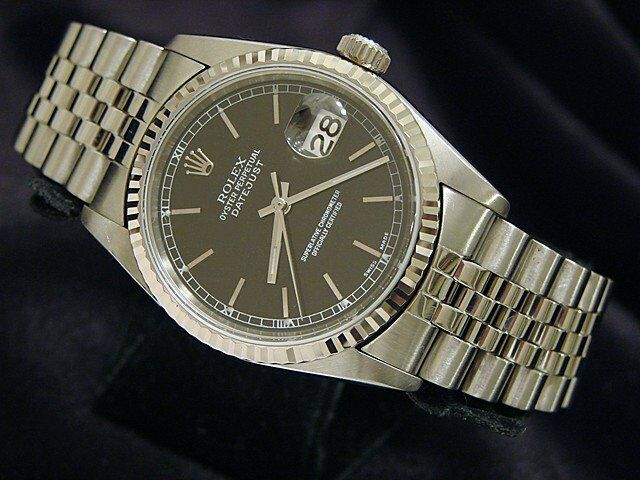 Rolex Datejust Mens Stainless Steel & 18k White Gold Watch Jubilee Black 16234
