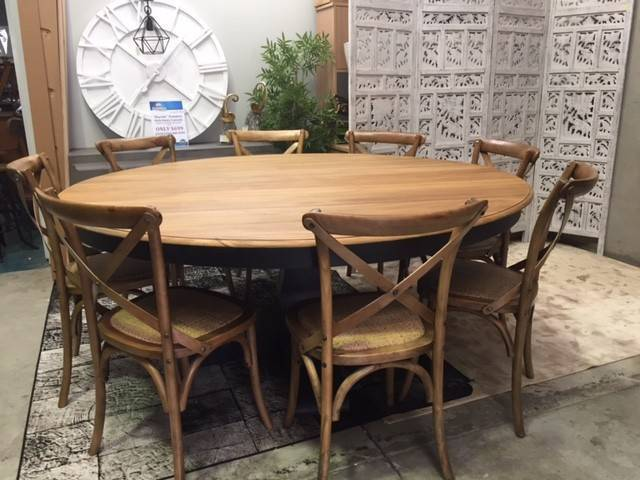 Hamptons Round Pedestal Base Timber Dining Table Package
