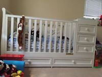White Solid Wood Baby Cot Bed with to changer - Converts into a Junior Bed