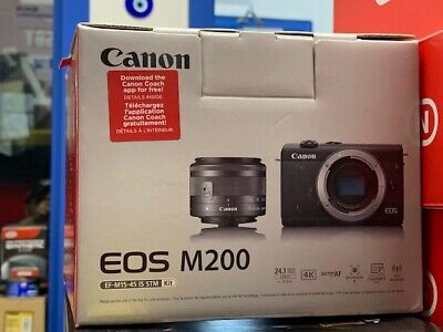 NEW Canon EOS M200 Mirrorless Digital Camera with 15-45mm Lens (Black)