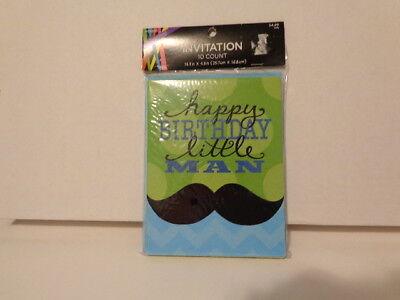 Happy Birthday Little Man Mustache-  Birthday Invitations - 10 ct Blue Green - Little Man Birthday Invitations