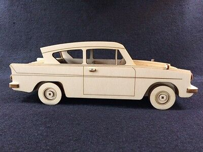 Laser Cut Wooden Ford Anglia (Harry Potter car) 3D Model/Puzzle Kit