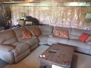 Large fabric sectional with 4 electric reclining  seats