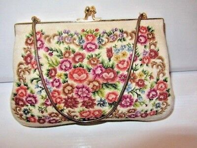 VINTAGE FRENCH SILK NEEDLEPOINT EMBROIDERED EVENING PURSE