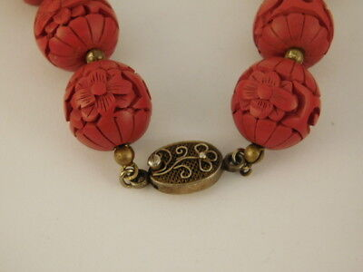 """VINTAGE CHINESE CARVED CINNABAR NECKLACE CHINA SILVER CLASP 25"""" LONG"""