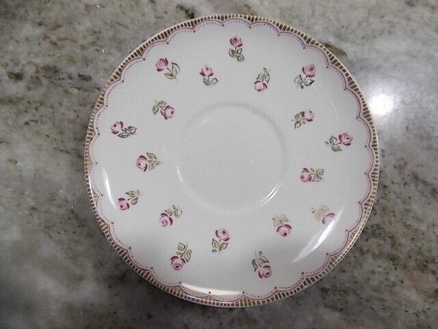 Lomonosov Porcelain Saucer Made In USSR Pink Flowers Roses Red Markings LFZ  - $11.50