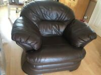 Brown Leather 3piece Leather suite
