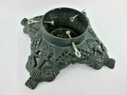 """Vintage Antique Heavy Cast Iron Christmas Tree Stand Holder Green 14"""" Square"""